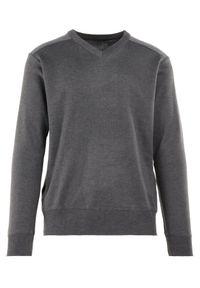 Born2be - Szary Sweter Melyse. Typ kołnierza: dekolt w kształcie V. Kolor: szary. Materiał: jeans. Wzór: aplikacja. Styl: klasyczny