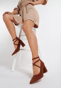 Renee - Brązowe Czółenka Leucosia. Kolor: brązowy