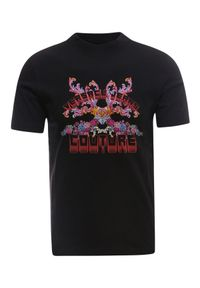 Versace Jeans Couture - VERSACE JEANS COUTURE - T-shirt z nadrukiem. Kolor: czarny. Materiał: bawełna. Wzór: nadruk