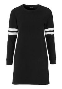 Czarna tunika Happy Holly z długim rękawem, z nadrukiem, długa