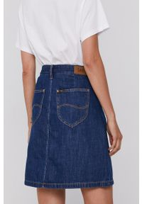 Lee - Spódnica jeansowa. Okazja: na co dzień. Kolor: niebieski. Materiał: jeans. Wzór: gładki. Styl: casual