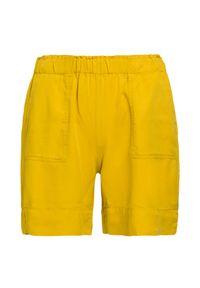 Deha - Szorty DEHA EASY. Kolor: żółty. Materiał: lyocell, tkanina, bawełna. Wzór: aplikacja