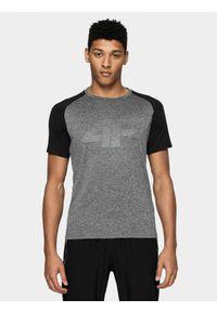 Szara koszulka sportowa 4f na fitness i siłownię, raglanowy rękaw