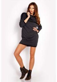 Lou-Lou - Grafitowa Sukienka Dresowa z Kontrastowymi Plisami. Kolor: szary. Materiał: dresówka