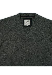Szary sweter na jesień, elegancki, z dekoltem w serek