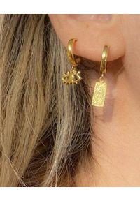 HERMINA ATHENS - Wiszące kolczyki Eye Mini. Materiał: srebrne. Kolor: złoty. Wzór: ażurowy