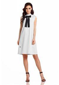 Szara sukienka wizytowa Lemoniade bez rękawów, trapezowa, z kokardą
