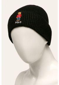 Czarna czapka Polo Ralph Lauren gładkie