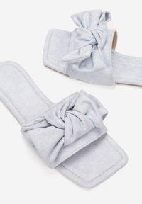Born2be - Niebieskie Klapki Athizyphe. Nosek buta: otwarty. Kolor: niebieski. Materiał: zamsz, materiał. Wzór: aplikacja. Sezon: lato. Obcas: na obcasie. Styl: elegancki