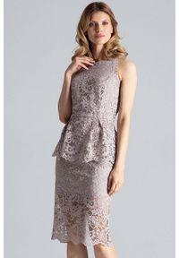 Beżowa sukienka koktajlowa Figl midi, ołówkowa, na imprezę