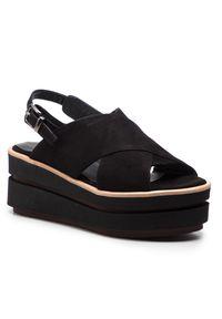 Czarne sandały Zinda casualowe, na obcasie, na co dzień