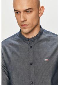 Niebieska koszula Tommy Jeans casualowa, z aplikacjami, długa