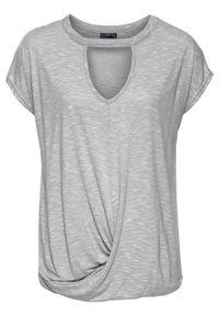 Shirt z wycięciem bonprix szary melanż. Kolor: szary. Wzór: melanż