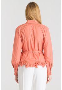 Różowa koszula Elisabetta Franchi z ozdobną falbanką. Kolor: różowy. Materiał: materiał. Styl: elegancki, sportowy