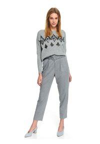 Szary sweter TOP SECRET krótki, z aplikacjami, na jesień