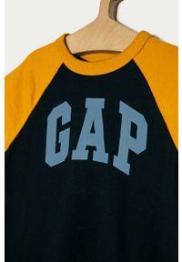 Niebieski t-shirt GAP z nadrukiem, na co dzień, casualowy