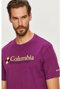 Fioletowy t-shirt columbia z okrągłym kołnierzem, casualowy, z nadrukiem
