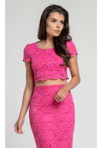 Nommo - Różowa Elegancka Krótka Koronkowa Bluzka. Kolor: różowy. Materiał: koronka. Długość: krótkie. Styl: elegancki