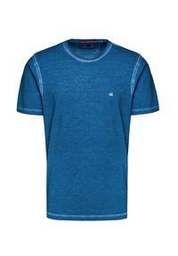Niebieski t-shirt CP Company retro, z okrągłym kołnierzem