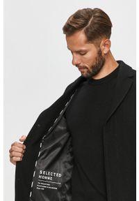 Czarny płaszcz Selected bez kaptura, na co dzień, casualowy