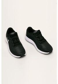 Czarne sneakersy Under Armour na sznurówki, do biegania, z cholewką, z okrągłym noskiem