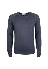 Sweter Calvin Klein z aplikacjami, casualowy, z okrągłym kołnierzem, na co dzień