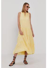 Y.A.S - Sukienka. Kolor: żółty. Materiał: tkanina. Wzór: gładki. Typ sukienki: rozkloszowane