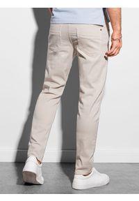 Ombre Clothing - Spodnie męskie chino P990 - jasnobeżowe - XXL. Kolor: beżowy. Materiał: bawełna, elastan