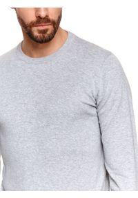 TOP SECRET - Sweter z miękkiej dzianiny. Kolor: szary. Materiał: dzianina. Długość: długie. Wzór: gładki. Sezon: lato, wiosna. Styl: klasyczny