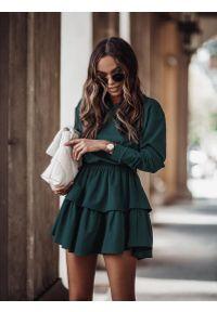 Zielona bluzka z długim rękawem IVON krótka