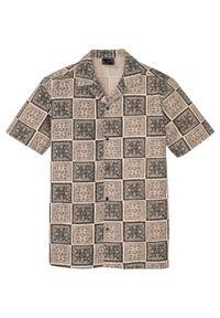 Koszula z krótkim rękawem i nadrukiem bonprix beżowo-czarny z nadrukiem. Kolor: beżowy. Długość rękawa: krótki rękaw. Długość: krótkie. Wzór: nadruk