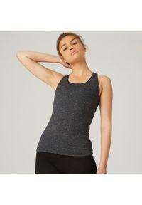 NYAMBA - Koszulka bez rękawów top fitness damski Nyamba. Kolor: szary. Materiał: elastan, poliester, materiał, lyocell, bawełna. Długość rękawa: bez rękawów. Sport: fitness