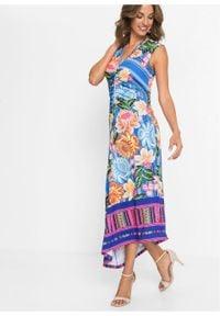 Sukienka z nadrukiem bonprix niebieski w kwiaty. Kolor: niebieski. Wzór: kwiaty, nadruk. Sezon: lato. Długość: midi