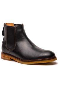 Czarne buty zimowe Clarks eleganckie, z cholewką