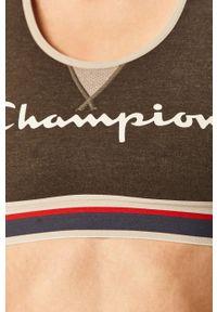 Szary biustonosz sportowy Champion z nadrukiem, z odpinanymi ramiączkami