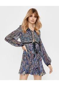 Camilla - CAMILLA - Jedwabna sukienka mini. Okazja: na imprezę. Kolor: niebieski. Materiał: jedwab. Wzór: motyw zwierzęcy, aplikacja. Typ sukienki: dopasowane, rozkloszowane. Długość: mini