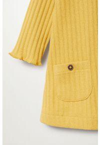 Żółta sukienka Mango Kids rozkloszowana, z golfem