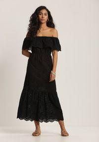 Renee - Czarna Sukienka Leumene. Typ kołnierza: dekolt hiszpanka. Kolor: czarny. Materiał: bawełna, koronka. Wzór: haft, kwiaty. Długość: midi