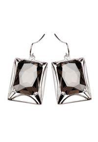 Srebrne kolczyki z kryształem, z aplikacjami, srebrne