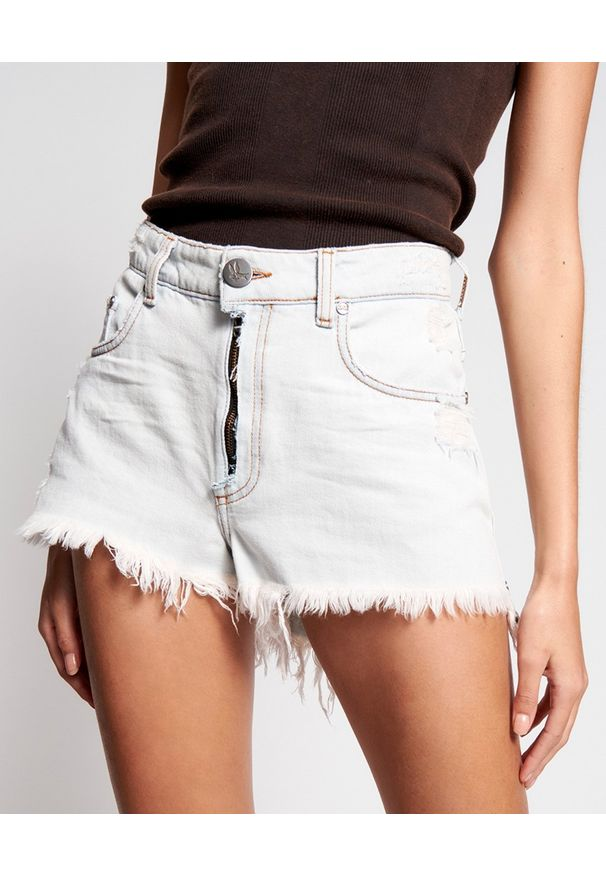 ONETEASPOON - Jeansowe szorty Bonita High Waist. Stan: podwyższony. Kolor: biały. Materiał: jeans