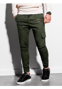 Ombre Clothing - Spodnie męskie joggery P1000 - khaki - XXL. Kolor: brązowy. Materiał: elastan, bawełna