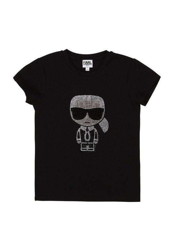 Czarna bluzka z krótkim rękawem Karl Lagerfeld klasyczna, na co dzień