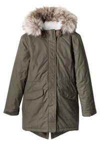 Zielony płaszcz bonprix z kapturem, krótki