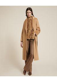 Luisa Spagnoli - LUISA SPAGNOLI - Beżowy płaszcz z wełny Scudo. Kolor: beżowy. Materiał: wełna. Styl: klasyczny