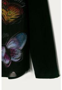 Czarna bluzka z długim rękawem Desigual z nadrukiem, casualowa, długa