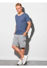 Ombre Clothing - T-shirt męski bawełniany S1385 - ciemnoniebieski - XXL. Kolor: niebieski. Materiał: bawełna. Styl: klasyczny