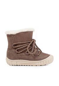 Szare buty zimowe Geox na zimę, z cholewką, na sznurówki
