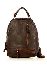 MARCO MAZZINI - Plecak damski brązowy Marco Mazzini v78b. Kolor: brązowy. Materiał: skóra. Styl: vintage, elegancki
