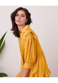 Żółta sukienka na lato, midi, z aplikacjami, rozkloszowana