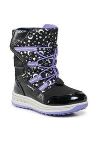 Geox - Śniegowce GEOX - J Roby G. B Wpf A J042UA 050FU C9233 S Black/Violet. Okazja: na spacer. Kolor: czarny. Materiał: skóra, skóra ekologiczna, materiał. Szerokość cholewki: normalna. Sezon: zima. Styl: młodzieżowy